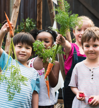 Photo of children with carrots